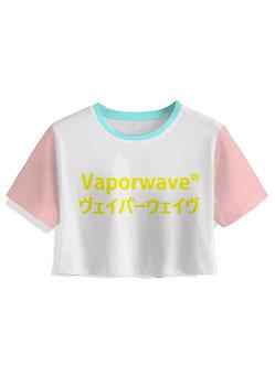 "Multi-colored ""Vaporwave"" Crop Top"