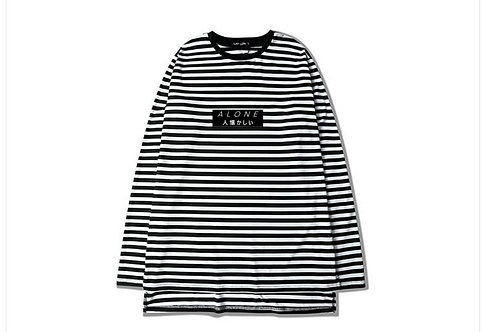 "Striped ""Alone"" Japanese Shirt"