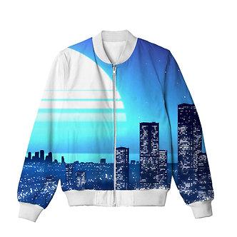 Electric Blue Citylight Kashisekai Vaporwave Bomber Jacket