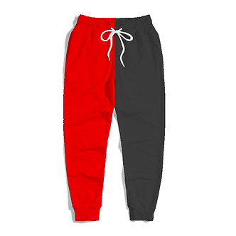 Black & Red Half Colored Comfort Joggers