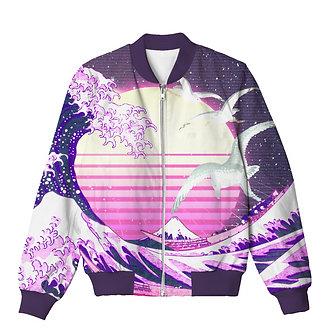 Wave of Vapor Synthwave Chillwave Vaporwave Allover Print Bomber Jacket
