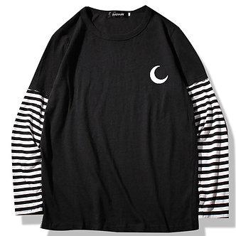 Black Zodiac Moon Symbol Stripped Shirt