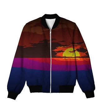 Miami Sunset Vaporwave Allover Print Bomber Jacket