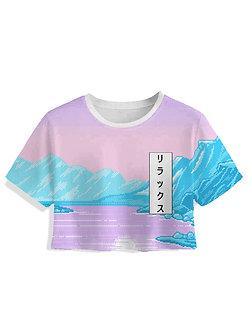 Glacier Women's Crop Top Kashisekai Vaporwave Aesthetic Clothing Japanese Katakana