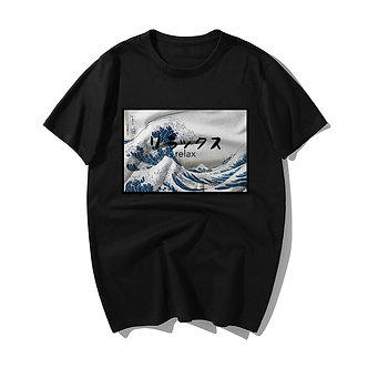 Relax in Japanese Black T Shirt Trendy Japanese Fashion