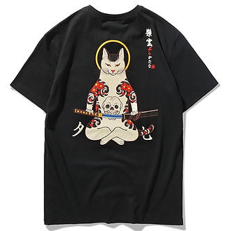 Black Samurai Kat Japanese T Shirt