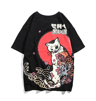 Red Moon Japanese Cat T Shirt