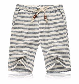 Striped Gray Beach Styled Shorts