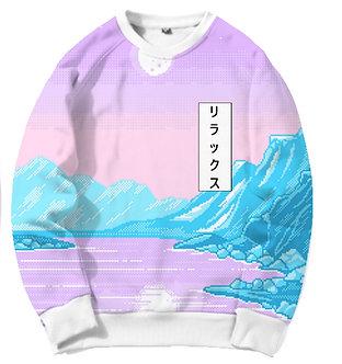 Frozen Vaporwave Allover Print Crewneck Shirt Japanese