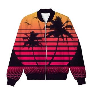 Retro Vibe Palm Trees Vaporwave Bomber Jacket