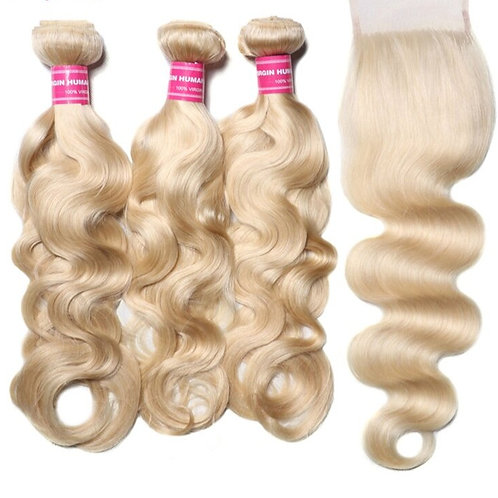 Brazilian 100% Remy Human Hair Body Wave Closure & 3 Bundles Of  Wefted Hair