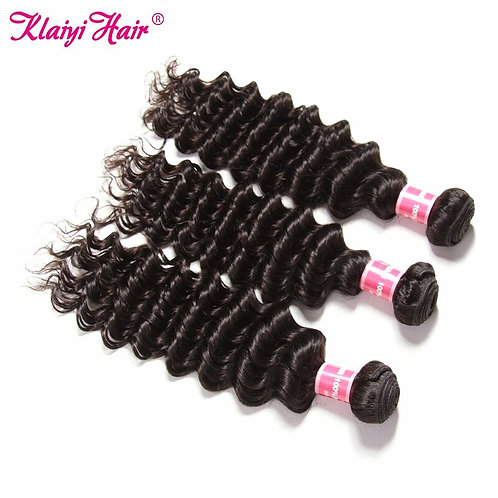 Peruvian 100% Remy Human Hair Wefts In  Deep Wave 3 Bundles In  Natural Color