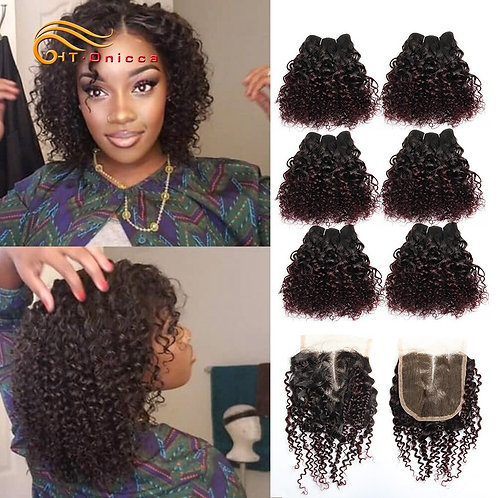 Brazilian Curly Hair Jerry Curl / 6 Bundles With Lace Front Closure Human Hair