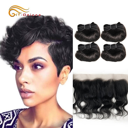 Bodywave Bundles With front Lace Closure Human Hair With Frontal 1B Hair Color