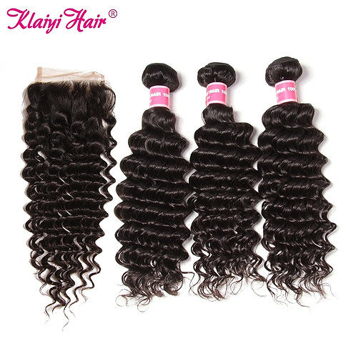 Malaysian Deep Wave Remy  4x4 Lace(Free Part)Closure & 3 Bundles of Hair Wefts