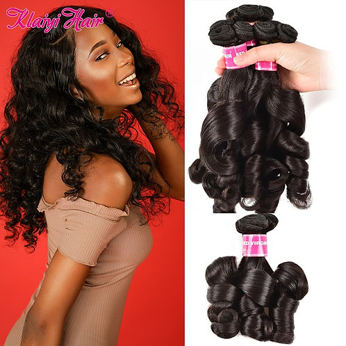 KLAIYI Brazilian  Bouncy Funmi Curly 100% Remy Human Hair Bundles Double Drawn