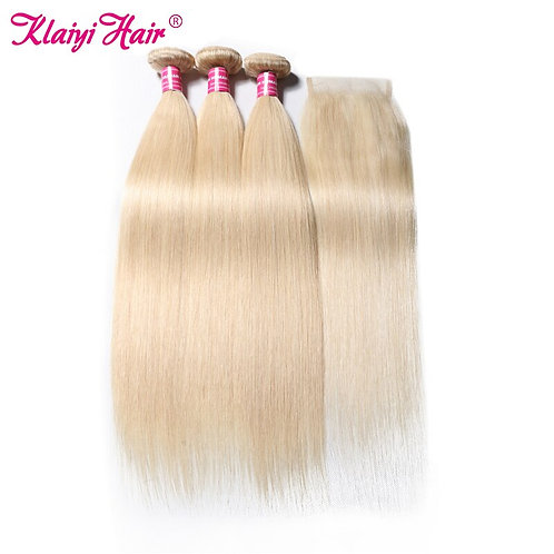 KLAIYI Brazilian #613 Straight Hair Weave With Lace Front Closure 4 PCS