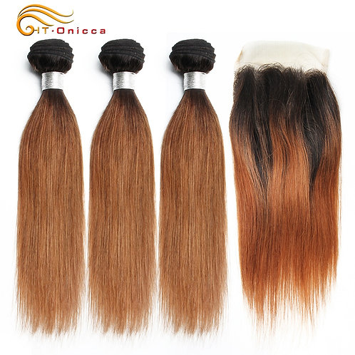 Brazilian 100% Human Hair Straight Blonde 3 Bundles With front Lace Closure 70g