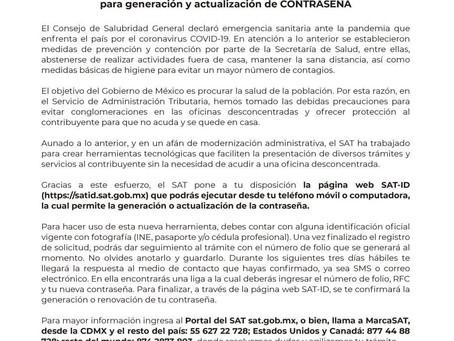 SAT lanza nueva página SAT ID para generacion y actualizacion de CONTRASEÑA