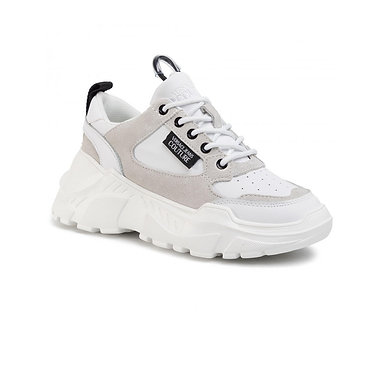 Versace Jeans Couture – Suede + leather coated speed trainers   White