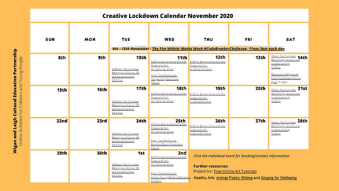 NEW CREATIVE LOCKDOWN CALENDAR SHOWS FUN FAMILY EVENTS IN WIGAN & LEIGH