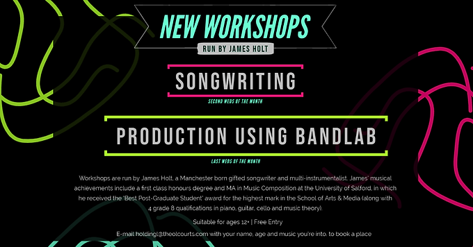 NEW MUSIC WORKSHOPS LAUNCHING OCTOBER 2020