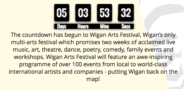 Wigan Arts Festival Countdown