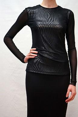 Long Sleeve Top w/ Knit Mesh Overlay