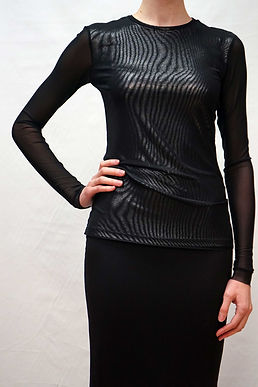 Long Sleeve Top w/ Knit Mesh Overlay