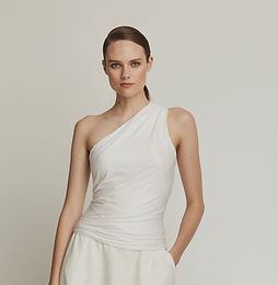 Bamboo Knit One Shoulder Top