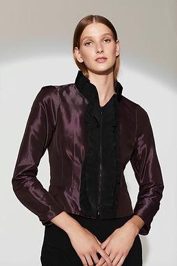 Short Metallic Jacket w/Grosgrain Ruffle Trim