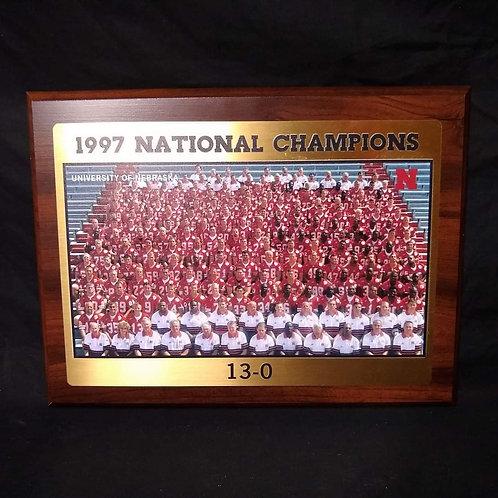 1997 NEBRASKA CORNHUSKERS NATIONAL CHAMPIONSHIP TEAM 8X10 PLAQUE