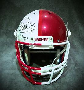 Nebraska Cornhuskers Oklahoma Sooners Tom Osborne Barry Switzer Autographed Helmet