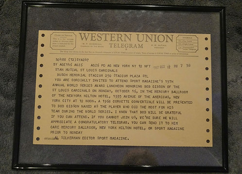 STAN MUSIAL 1967 Telegram for BOB GIBSON MVP Award
