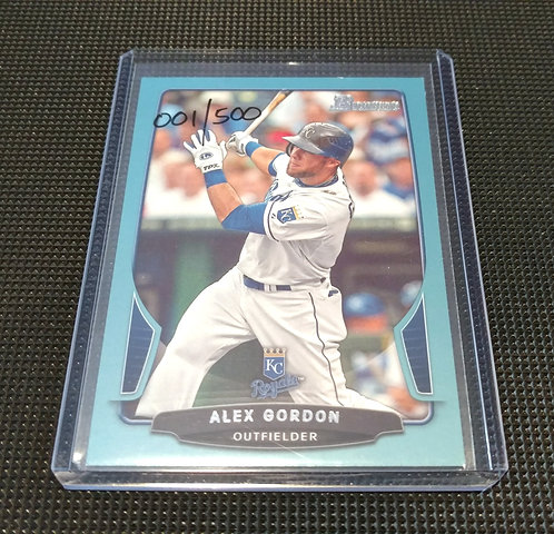 1/500 ALEX GORDON 2013 Topps Bowman BABY BLUE