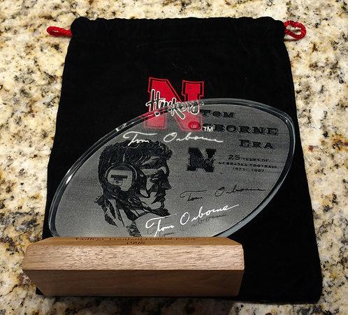 "RARE 1998 College Football Hall of Fame ""The Tom Osborne Era"" Signed Crystal"
