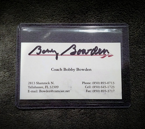 Coach BOBBY BOWDEN Signed Business Card Seminoles