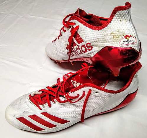 "STANLEY MORGAN JR. Game Used Cleats ""Tons of Use!"" RECEPTION RECORD HOLDER"