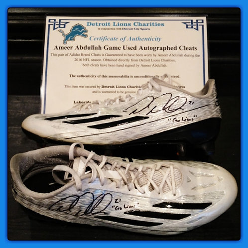 Ameer Abdullah Game Used Autographed Cleats LIONS