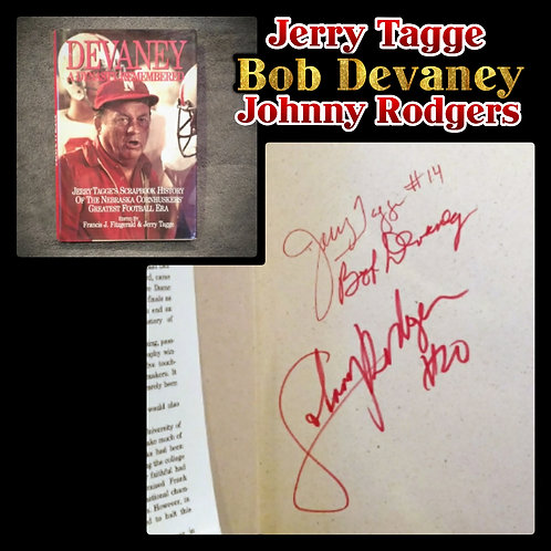 Signed BOB DEVANEY Jerry Tagge JOHNNY RODGERS Book