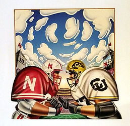 Joe Mcdermott Original Art Nebrakska Cornhuskers Football
