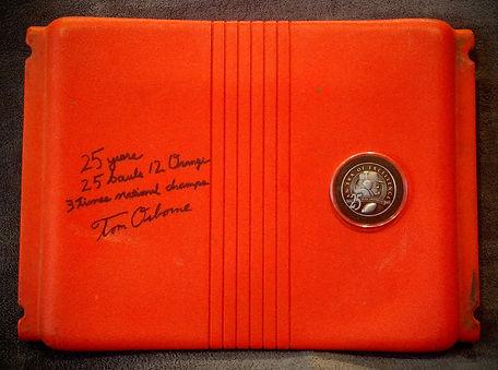 Orange Bowl Stadium Used Seat Nebraska Huskers Tom Osborne Signed 1/2