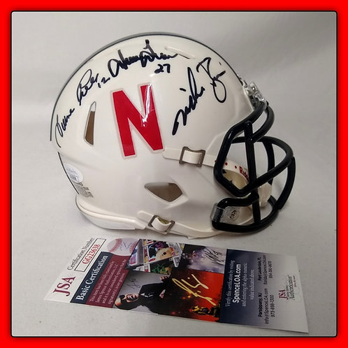 SCORING EXPLOSION! MIKE ROZIER, TURNER GILL, IRVING FRYAR Signed mini Helmet JSA