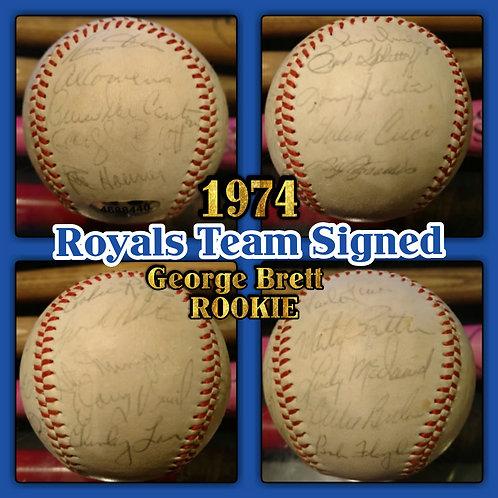 1974 KC Royals Team Ball GEORGE BRETT Rookie Auto
