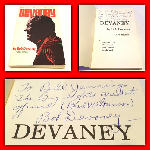 Bob Devaney Signed Book To Bill Jennings Big 8 1/1