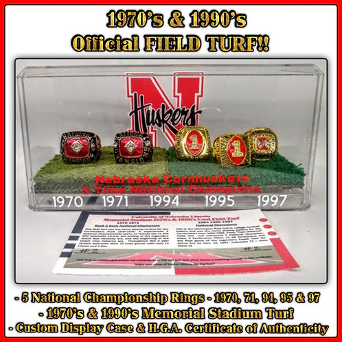 Nebraska Cornhuskers Game Used Turf Memorial 🏟️ 5x National Champs 70's & 90's