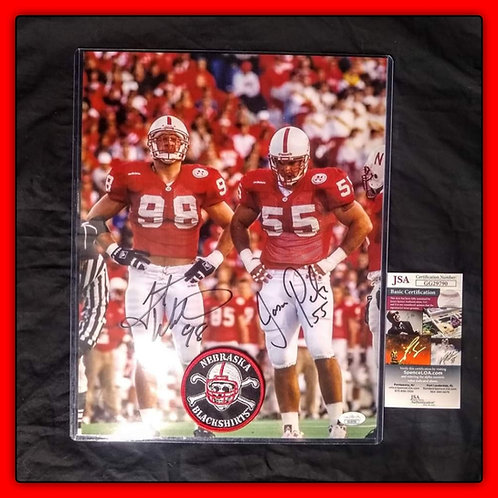 GRANT WISTROM & JASON PETER 11X14 BLACKSHIRTS Signed Husker Photo JSA