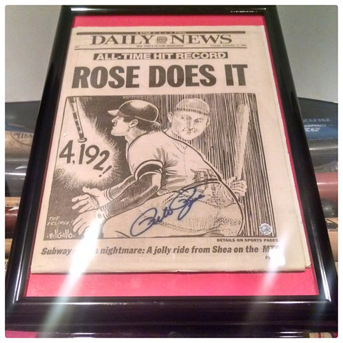 Signed PETE ROSE 1985 Newspaper 4,192 Hits King