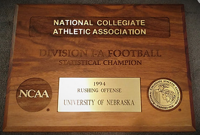 1994 Nebraska Cornhuskers NCAA Division I-A Football Statistical Champion Rushing Offense Plaque Award