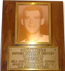New York Yankees Don Larsen Perfect Game Personal Award Plaque